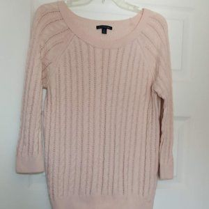 American Eagle Pink Cable Knit Pullover Sweater